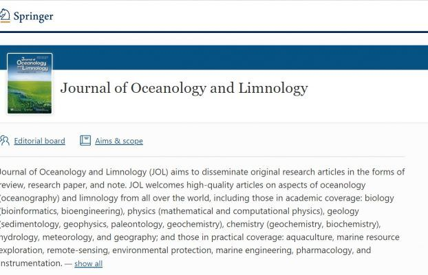 Publication of selected papers in Journal of Oceanology and Limnology (special issue)